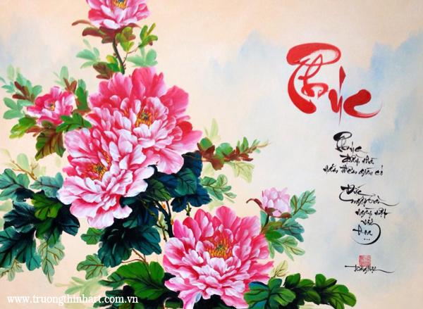 Tranh thư pháp sơn dầu trên vải Toan - Mã: TPSDTVT001