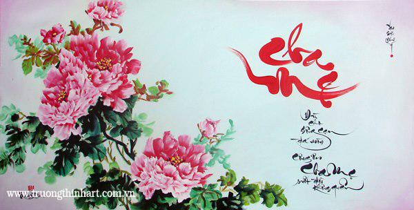 Tranh thư pháp sơn dầu trên vải Toan - Mã: TPSDTVT002