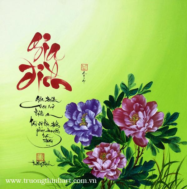 Tranh thư pháp sơn dầu trên vải Toan - Mã: TPSDTVT004