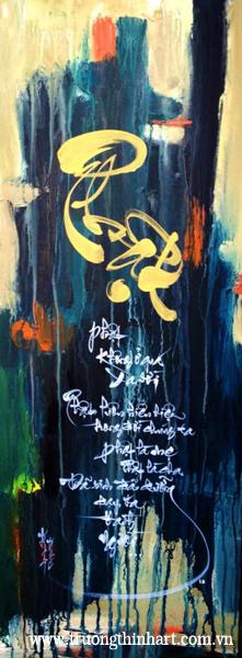 Tranh thư pháp sơn dầu trên vải Toan - Mã: TPSDTVT005
