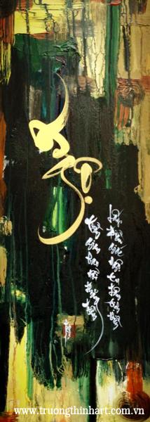 Tranh thư pháp sơn dầu trên vải Toan - Mã: TPSDTVT007