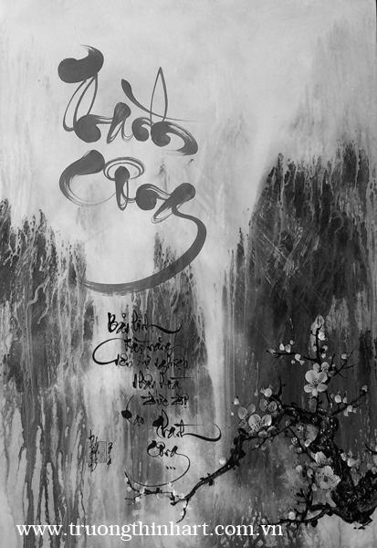 Tranh thư pháp sơn dầu trên vải Toan - Mã: TPSDTVT014