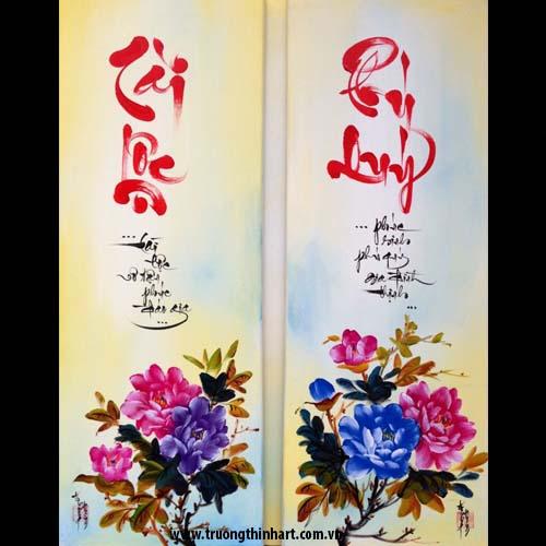 Tranh thư pháp sơn dầu trên vải Toan - Mã: TPSDTVT030