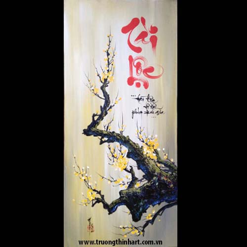 Tranh thư pháp sơn dầu trên vải Toan - Mã: TPSDTVT032