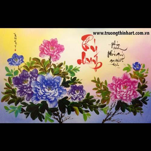 Tranh thư pháp sơn dầu trên vải Toan - Mã: TPSDTVT033