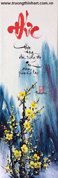 Thư pháp Sơn dầu trên Vải Toan - Mã: TPSDTVT063