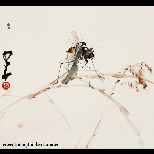 Tranh hoa cỏ và côn trùng - Mã: TMTHCVCT014