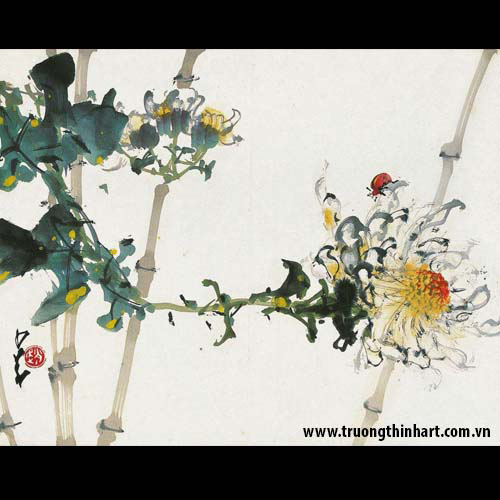 Tranh hoa cỏ và côn trùng - Mã: TMTHCVCT015