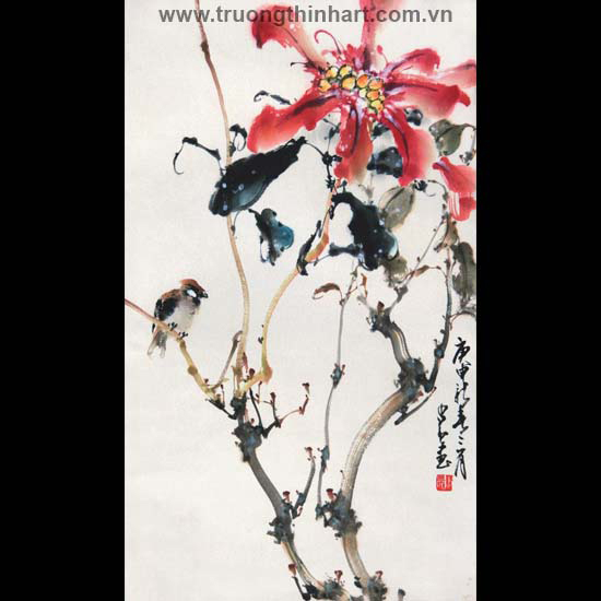 Tranh hoa cỏ và côn trùng - Mã: TMTHCVCT034