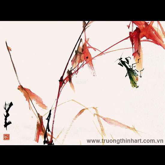 Tranh hoa cỏ và côn trùng - Mã: TMTHCVCT042
