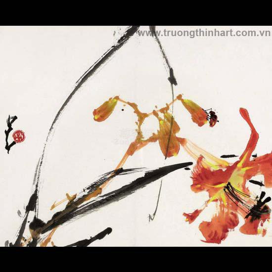 Tranh hoa cỏ và côn trùng - Mã: TMTHCVCT052
