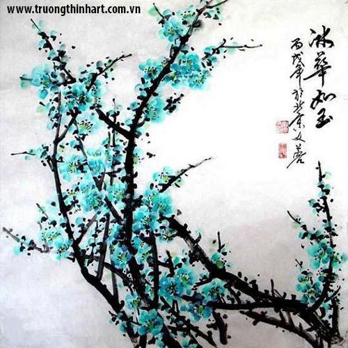 Tranh hoa đào, mai - Mã: THDM002
