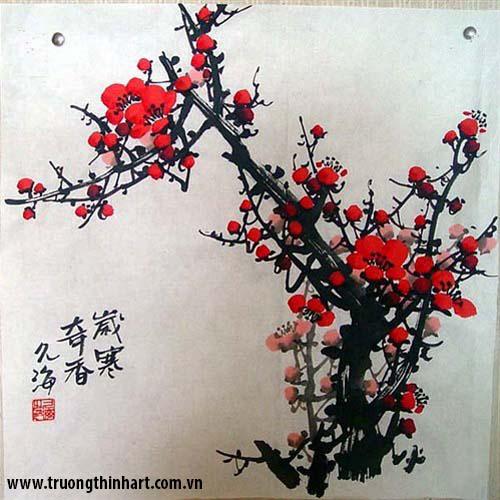 Tranh hoa đào, mai - Mã: THDM004