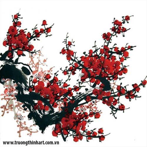 Tranh hoa đào, mai - Mã: THDM006