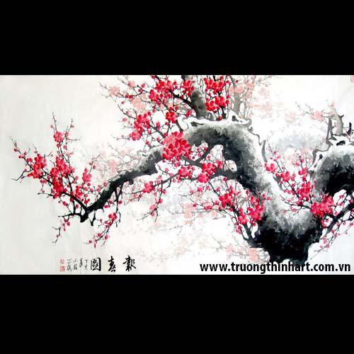 Tranh hoa đào, mai - Mã: THDM008
