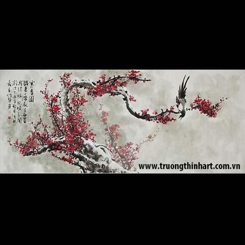 Tranh hoa đào, mai - Mã: THDM009