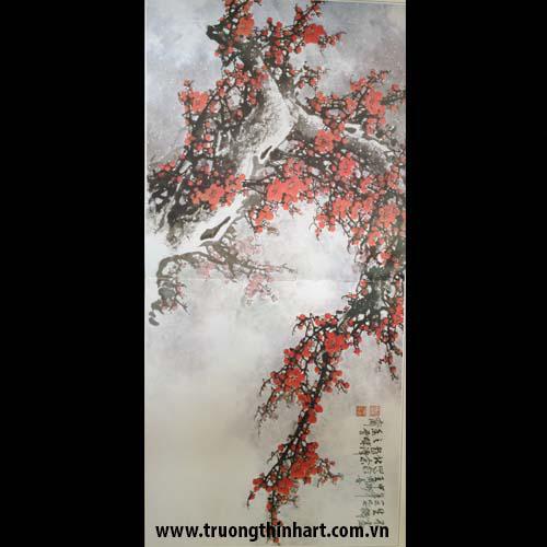Tranh hoa đào, mai - Mã: THDM010