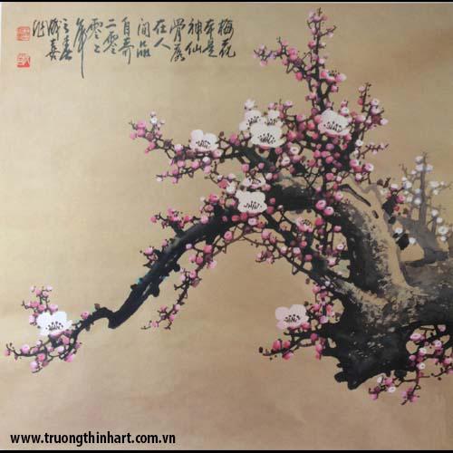 Tranh hoa đào, mai - Mã: THDM013