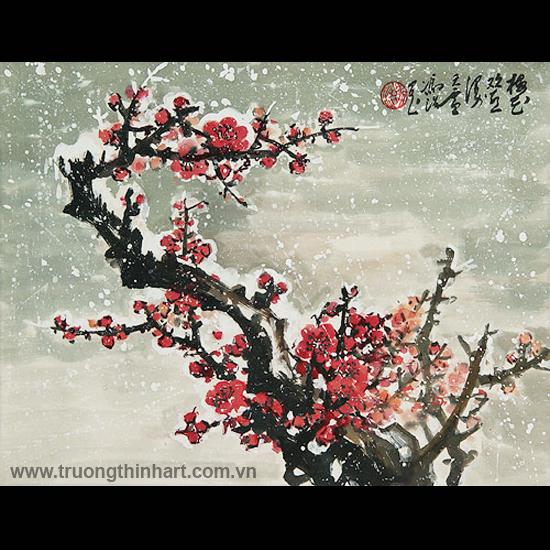 Tranh hoa đào, mai - Mã: THDM014