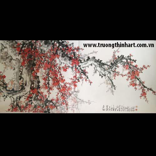 Tranh hoa đào, mai - Mã: THDM015