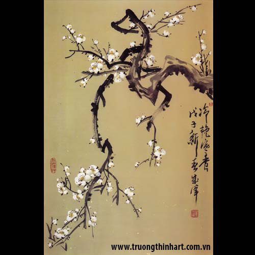 Tranh hoa đào, mai - Mã: THDM016