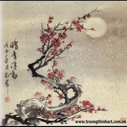 Tranh hoa đào, mai - Mã: THDM017