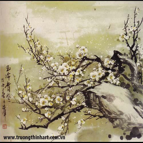Tranh hoa đào, mai - Mã: THDM018