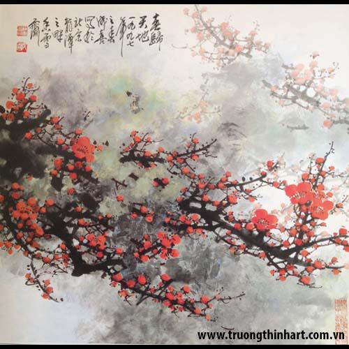 Tranh hoa đào, mai - Mã: THDM019